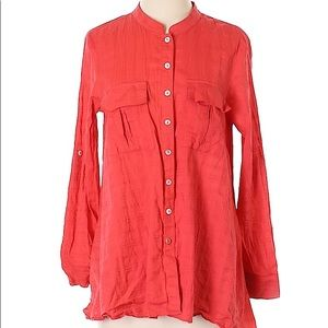 Fei Anthropologie red cotton button down shirt XS